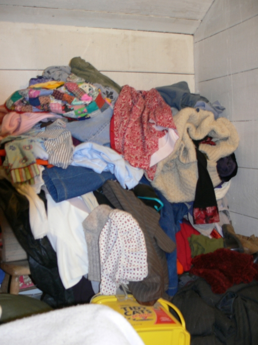 Partial picture of clothes in my room I am working on dealing with tonight