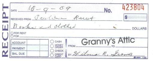 Granny's attic receipt 1